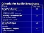 criteria for radio broadcast