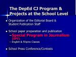 the deped cj program projects at the school level