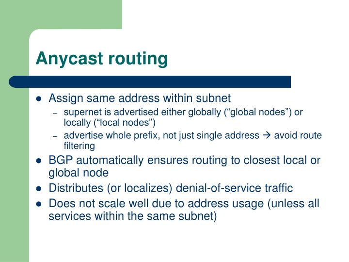 Anycast routing
