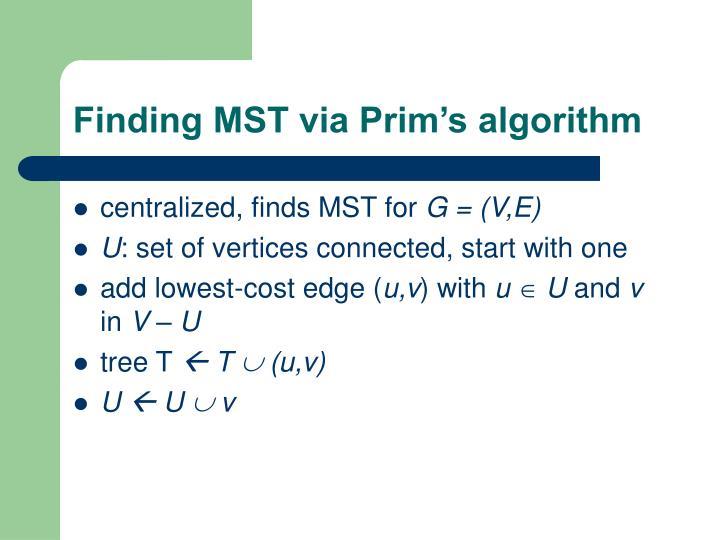 Finding MST via Prim's algorithm