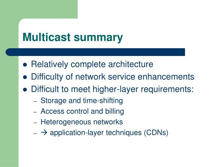 Multicast summary