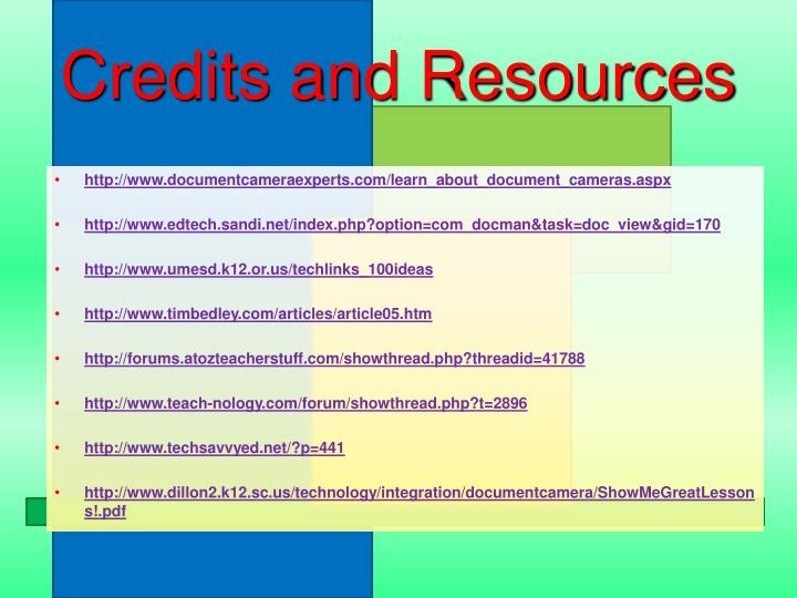 Credits and Resources