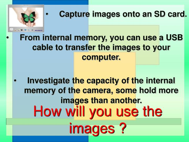 How will you use the images ?