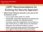cert recommendations for evolving the security approach2
