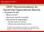 cert recommendations for governing organizational security