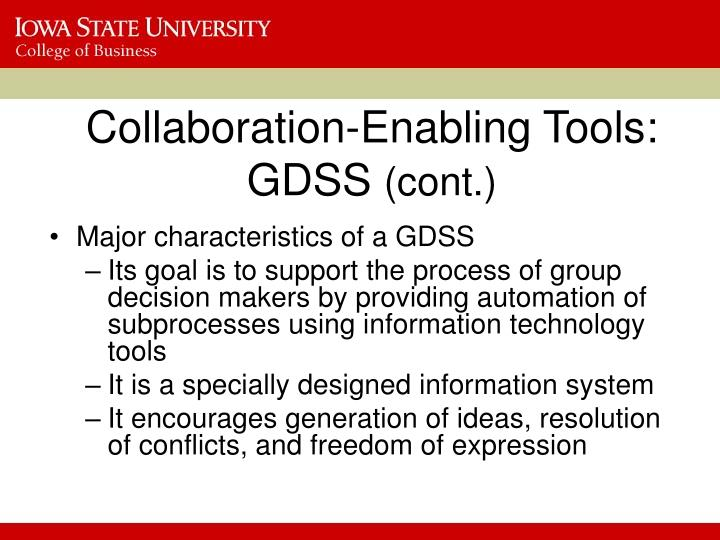 Collaboration-Enabling Tools: GDSS
