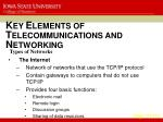 k ey e lements of t elecommunications and n etworking