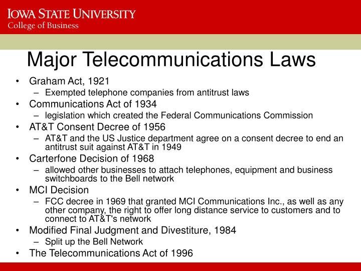 Major Telecommunications Laws