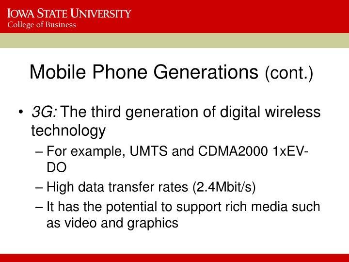 Mobile Phone Generations