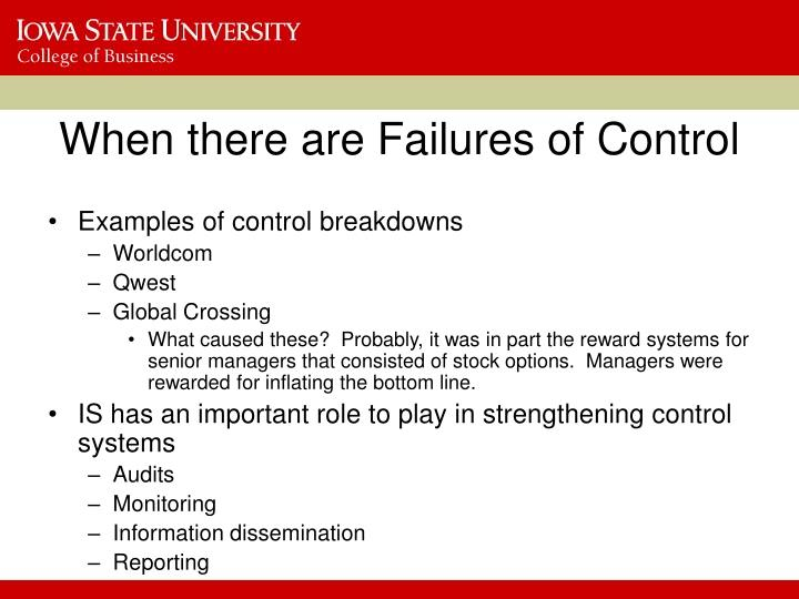 When there are Failures of Control