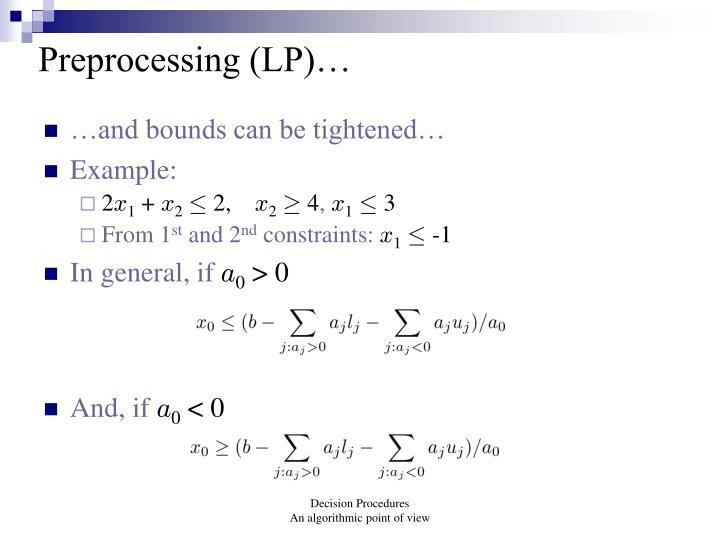 Preprocessing (LP)…
