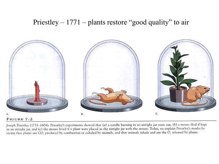 "Priestley – 1771 – plants restore ""good quality"" to air"