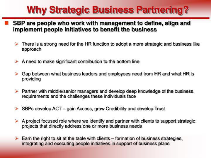 Why Strategic Business Partnering?