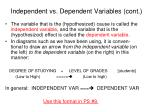 independent vs dependent variables cont1