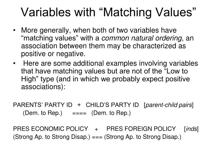 "Variables with ""Matching Values"""