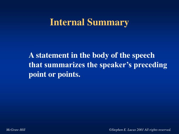 Internal Summary