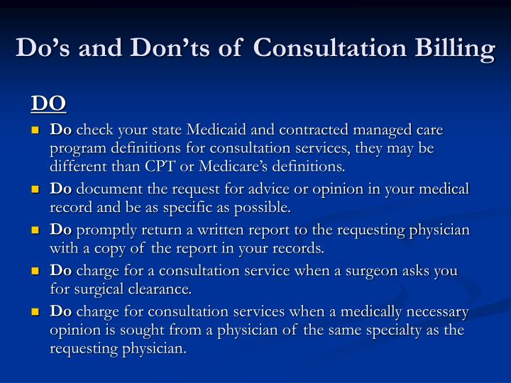 Do's and Don'ts of Consultation Billing