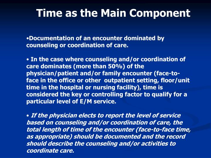 Time as the Main Component