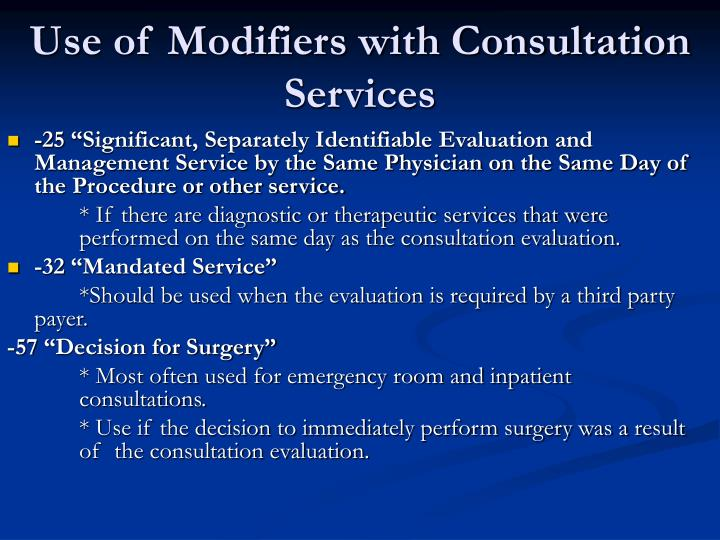 Use of Modifiers with Consultation Services
