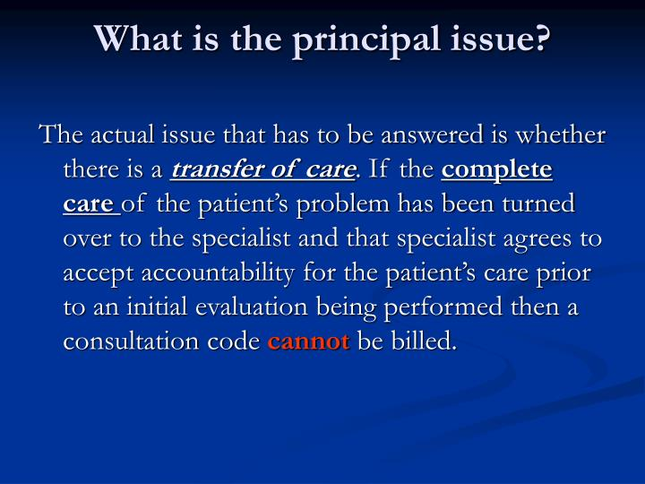 What is the principal issue?