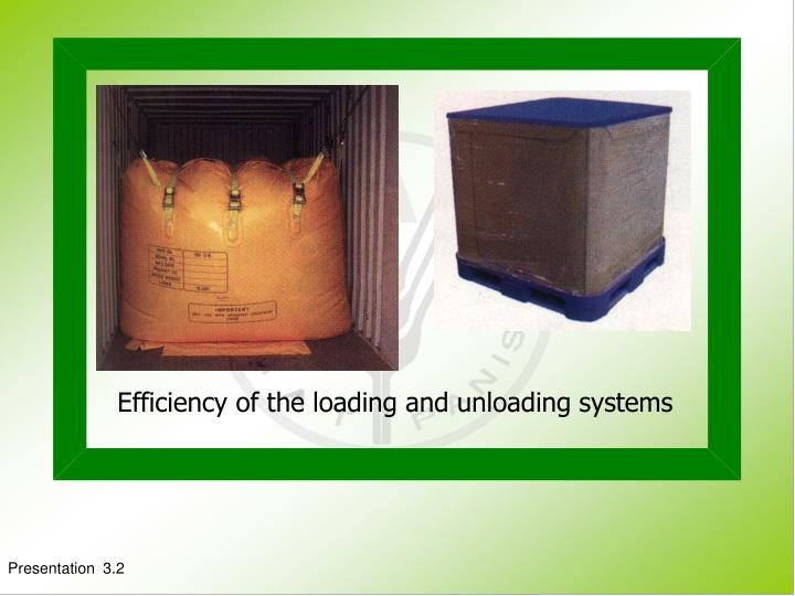 Efficiency of the loading and unloading systems