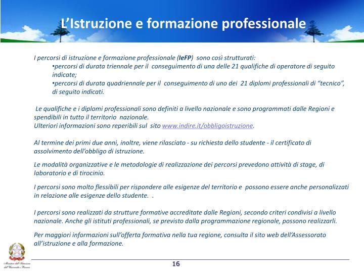 L'Istruzione e formazione professionale