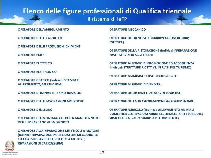 Elenco delle figure professionali di Qualifica triennale