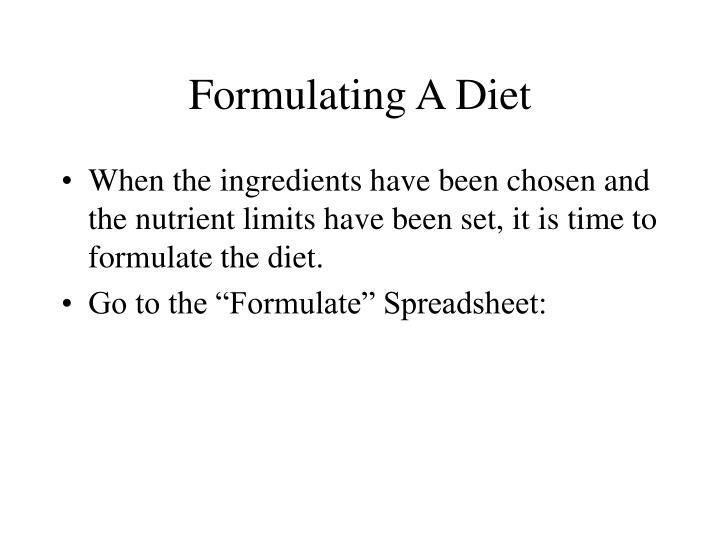 Formulating A Diet