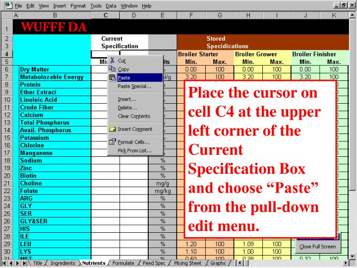 """Place the cursor on cell C4 at the upper left corner of the Current Specification Box and choose """"Paste"""" from the pull-down edit menu."""