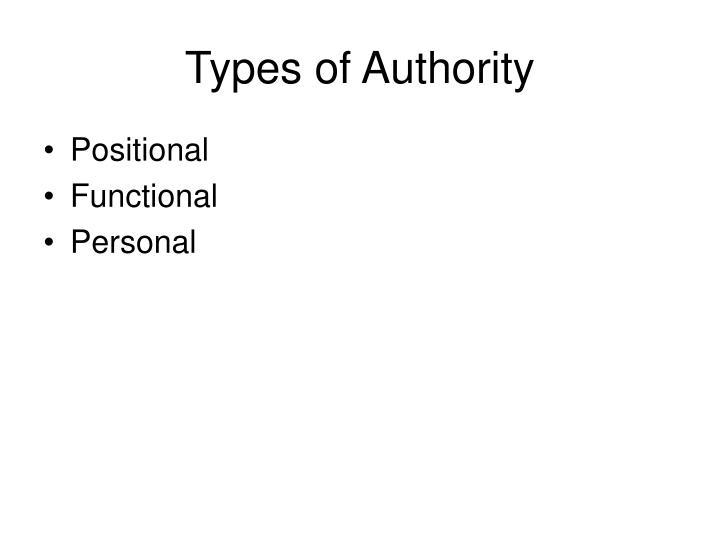 Types of Authority