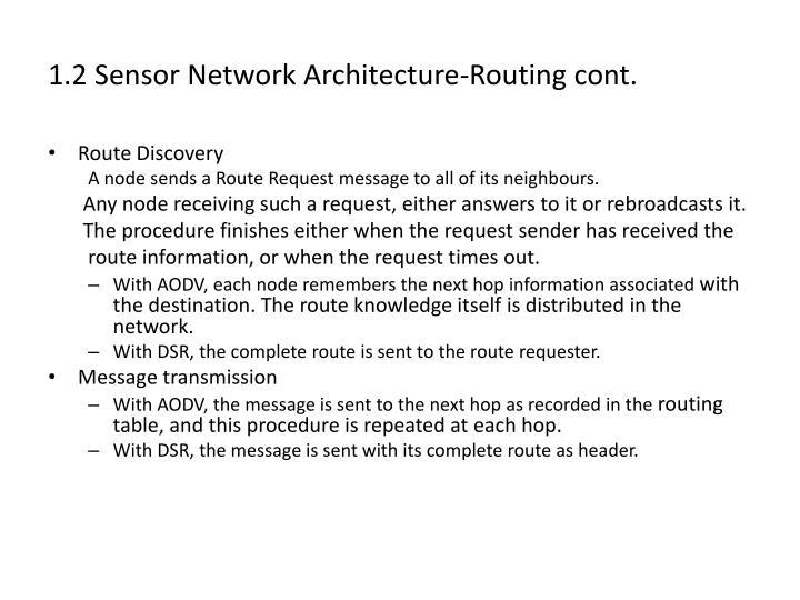 1.2 Sensor Network Architecture-Routing cont.