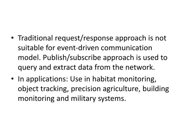 Traditional request/response approach is not suitable for event-driven communication model. Publish/subscribe approach is used to query and extract data from the network.