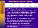 investment value contd
