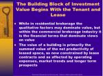 the building block of investment value begins with the tenant and lease
