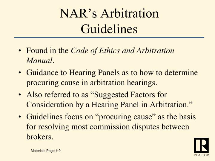 NAR's Arbitration Guidelines