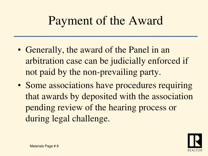 Payment of the Award