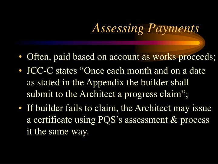 Assessing Payments