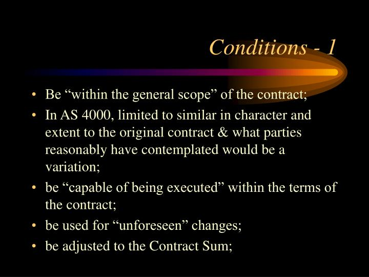 Conditions - 1