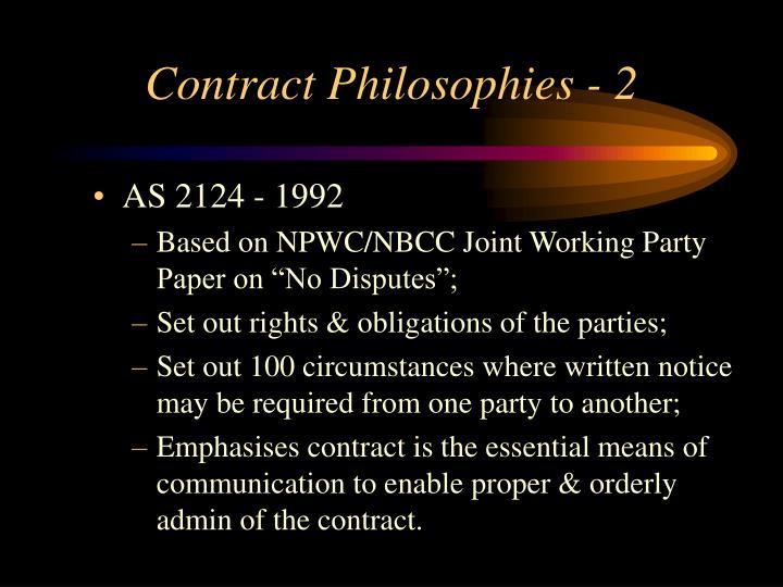 Contract Philosophies - 2