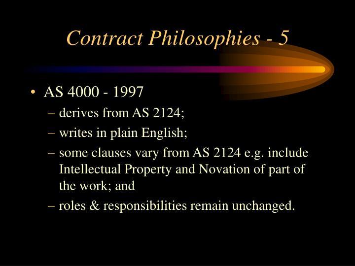Contract Philosophies - 5
