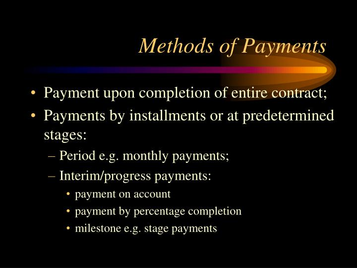 Methods of Payments