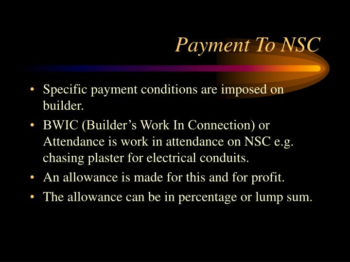 Payment To NSC