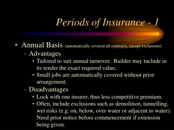 Periods of Insurance - 1