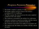progress payment procedure