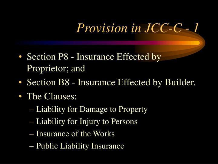 Provision in JCC-C - 1