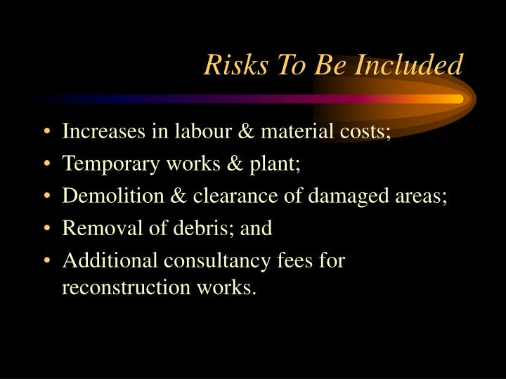Risks To Be Included