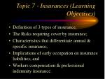 topic 7 insurances learning objectives