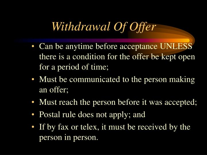 Withdrawal Of Offer
