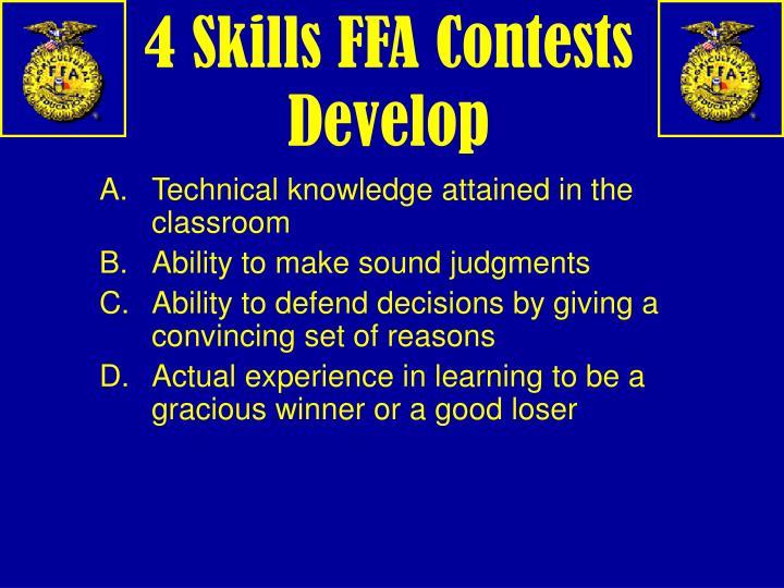 4 Skills FFA Contests Develop