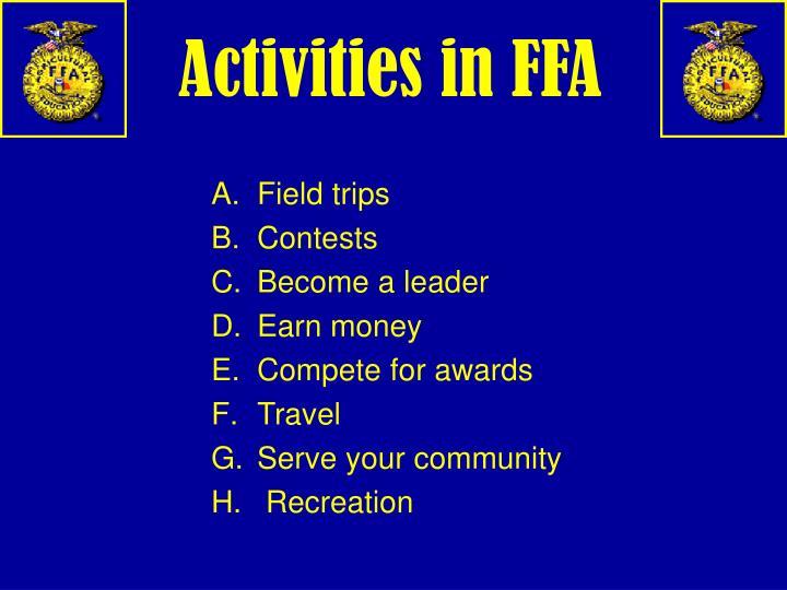 Activities in FFA